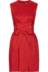 Victoria Beckham Belted Pleated Taffeta Dress Red