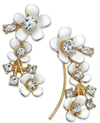Kate Spade New York Gold Tone White Flower And Crystal Ear Climber Earrings