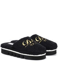 Dolce And Gabbana Embroidered Terry Cloth Slippers Black