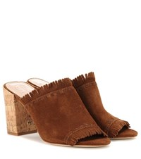 Tory Burch Huntington 90 Suede Sandals Brown