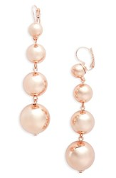 Topshop Women's Linear Ball Drop Earrings Rose Gold