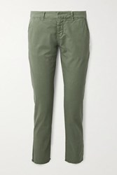 Nili Lotan East Hampton Frayed Stretch Cotton Twill Slim Leg Pants Army Green