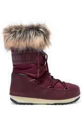 Moon Boot Monaco Faux Fur Trimmed Shell And Faux Leather Snow Boots Burgundy
