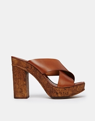 Carvela Knit Platform Cross Strap Mules Tan