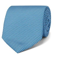 Dunhill 8Cm Printed Mulberry Silk Tie Blue