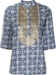 Figue 'Jasmine' Tunic Women Cotton Sequin S Blue