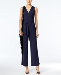Ny Collection Petite Surplice Belted Wide Leg Jumpsuit Peacoat