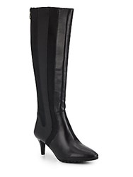 Tahari Fiore Leather And Textile Knee Boots Black