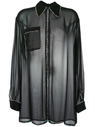 Marco De Vincenzo Crystal Embellished Sheer Blouse Black