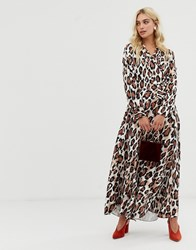 Zibi London V Front Leopard Print Midi Dress Multi