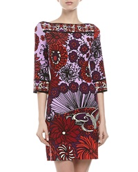 Ali Ro Three Quarter Sleeve Shift Dress Mauve Red