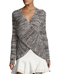 Derek Lam Cross Front Cotton Pullover Sweater Black Ivory Black Ivory