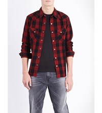 Nudie Jeans Jonis Cotton Shirt Black Red