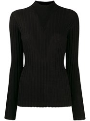 Bottega Veneta Mock Neck Ribbed Jumper Black