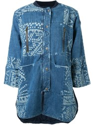 Sea Bleached Patchwork Denim Jacket Blue