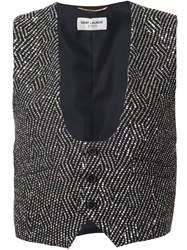 Saint Laurent Embellished Metallic Waistcoat Black