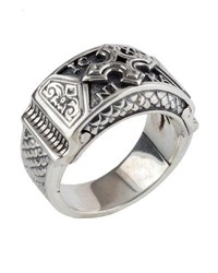 Konstantino Men's Sterling Silver Christogram Cross Ring