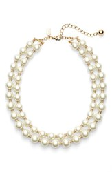 Women's Kate Spade New York 'Pearls Of Wisdom' Double Strand Faux Pearl Necklace Gold Cream