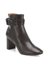 Aquatalia By Marvin K Vanie Buckle Leather Block Heel Booties Espresso Black