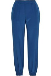 Red Valentino Redvalentino Woman Silk Crepe De Chine Track Pants Cobalt Blue