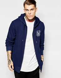 Siksilk Longline Zip Up Hoodie In Pique Navy