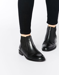 Asos Advertise Wide Fit Leather Ankle Boots Black