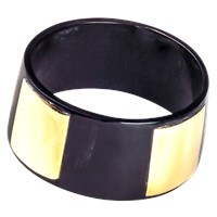 Alexander Betty Smooth Metal And Horn Bangle Dark Horn