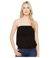 Michael Stars Double Gauze Tube Top W Lace Black Women's Clothing