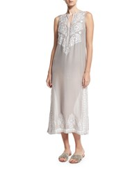 Marie France Van Damme Floral Sleeveless Embroidered Silk Chiffon Long Caftan Coverup Silver
