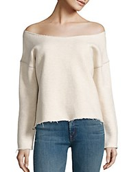 Mother Off The Shoulder Sweatshirt Ivory