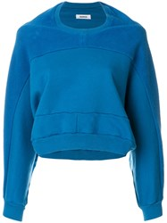 Marios Cropped Textured Sweater Cotton S Blue