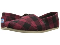 Toms Seasonal Classics Red Black Plaid Men's Slip On Shoes Multi