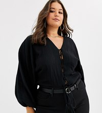 Asos Design Curve Long Sleeve Top With Tie Front In Natural Crinkle Black