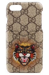 Gucci Embroidered Angry Cat Gg Supreme Iphone 7 Case Beige Beige Ebony Multi