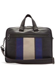 Bottega Veneta Striped Intrecciato Leather Briefcase Black Multi