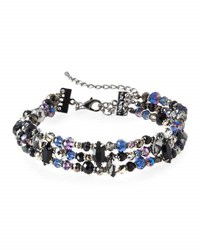 Emily And Ashley Triple Row Beaded Crystal Choker Necklace Black
