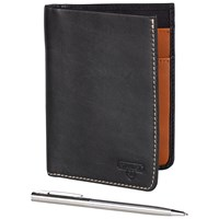 Stanley Leather Travel Wallet With Pen Black