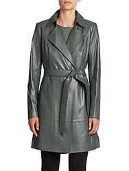 Lafayette 148 New York Jeannette Leather Trenchcoat Caper