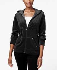 Karen Scott Petite Embellished Velour Hoodie Only At Macy's Deep Black