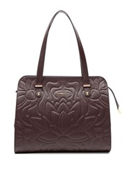 Braccialini Silvia Leather And Suede Shopper Bag Brown