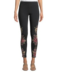 Johnny Was Joanna Leggings W Floral Embroidery Plus Size Black