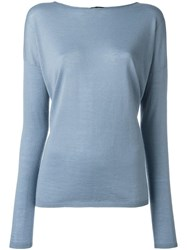 Iris Von Arnim Drop Shoulder Sweater Blue