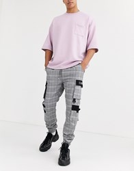 Sixth June Checked Cargo Pant In Black Grey