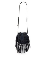 Aimee Kestenberg Fringe Calf Hair Leather Saddle Bag Brown Cheetah