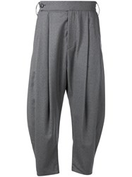 Odeur Cropped Pleated Front Trousers Grey