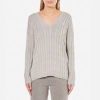 Polo Ralph Lauren Women's V Neck Side Slit Jumper Oxford Grey