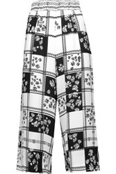 Mother Of Pearl Minos Printed Crepe De Chine Culottes White