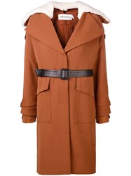 Self Portrait Oversized Collar Trench Brown
