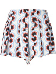 C Meo Retro Print Shorts Nude And Neutrals