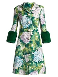 Dolce And Gabbana Hydrangea Brocade Fur Trimmed Coat Green Print